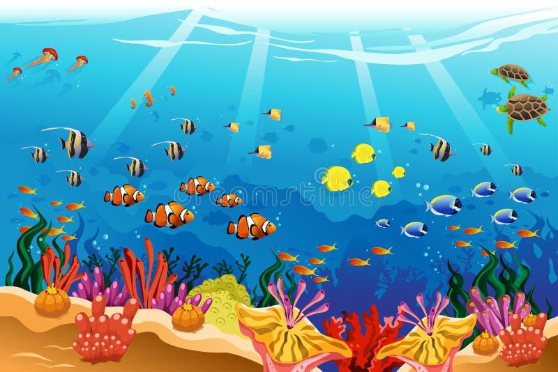 Escena subacuática marina stock de ilustración