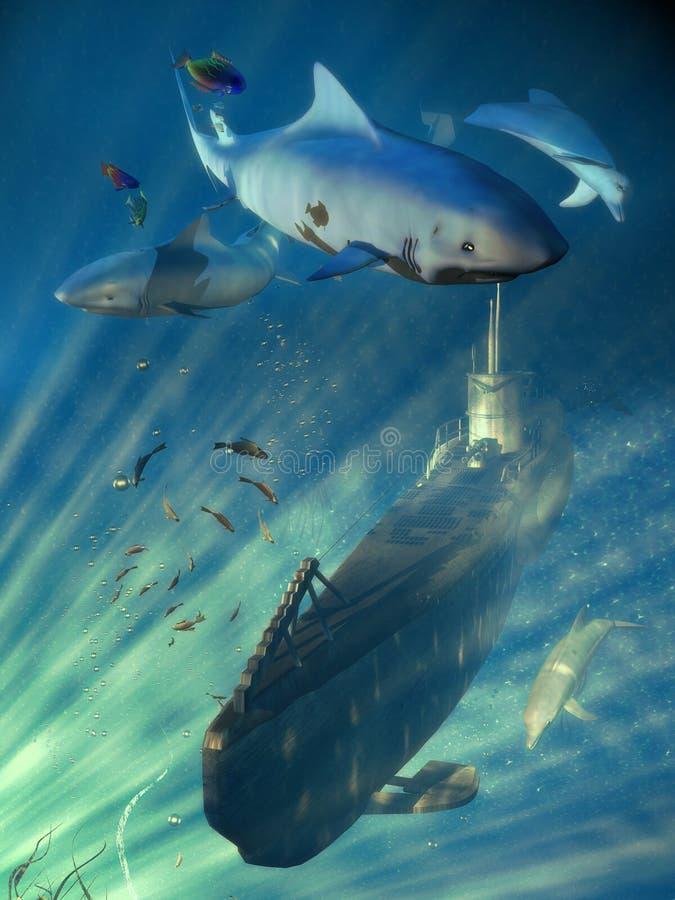 Escena submarina stock de ilustración