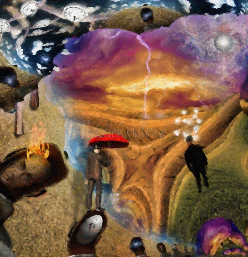 Escena surrealista de la fantasía stock de ilustración