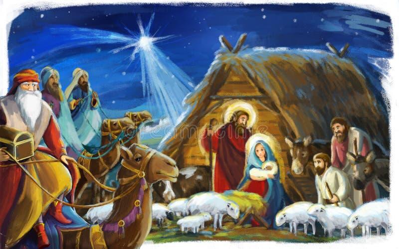 Escena tradicional de la Navidad con la familia santa y tres reyes para diverso uso libre illustration