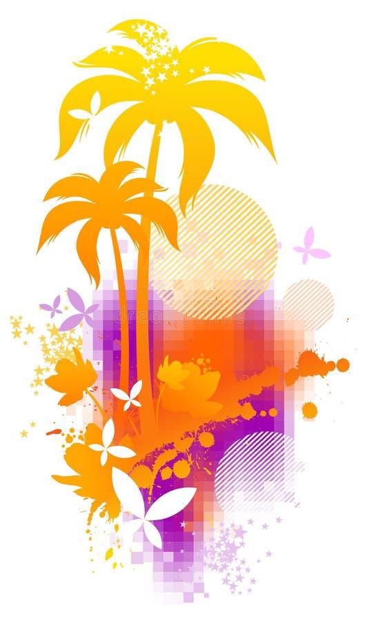 Escena tropical abstracta stock de ilustración