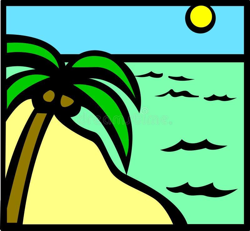 Escena tropical de la playa stock de ilustración