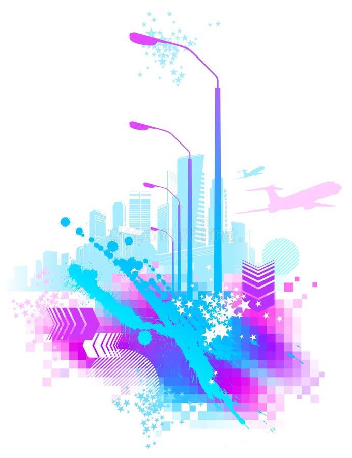 Escena urbana abstracta stock de ilustración