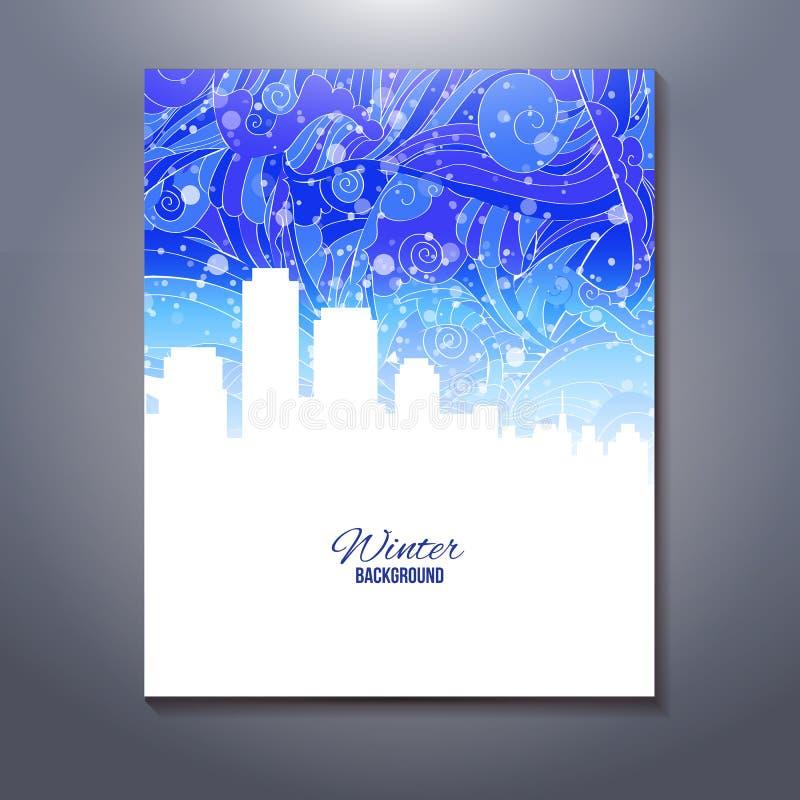 Escena urbana abstracta con el cielo de la nieve stock de ilustración