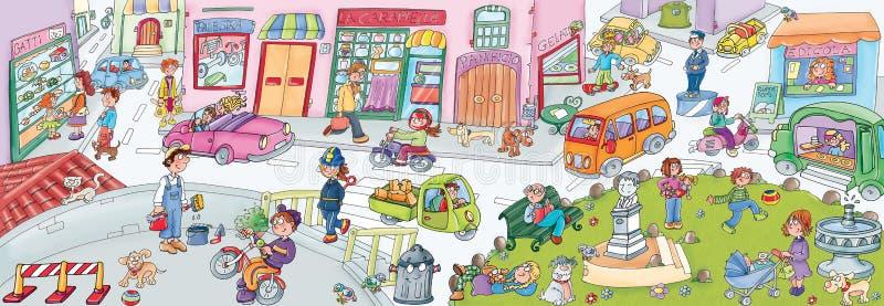 Escena urbana de la calle de la historieta libre illustration