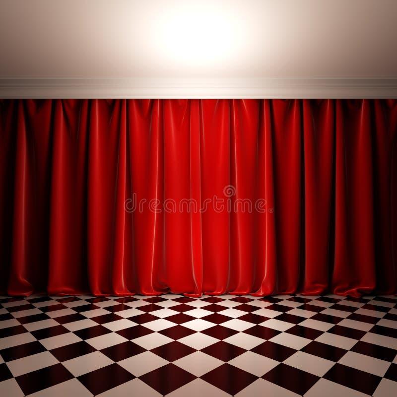 Escena vacía con la cortina roja del terciopelo. ilustración del vector