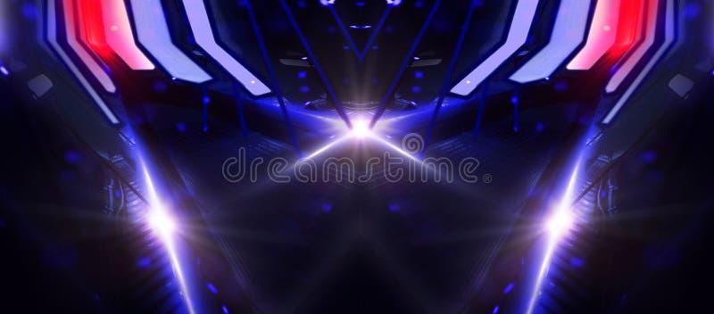 Escena vacía del fondo, abstracción con las luces y neón Realidad virtual, fondo azul, proyector Túneles del espacio, agrigat fotografía de archivo