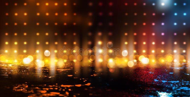 Escena vacía oscura, luz de neón multicolora del reflector, luz abstracta del bokeh, asfalto mojado libre illustration