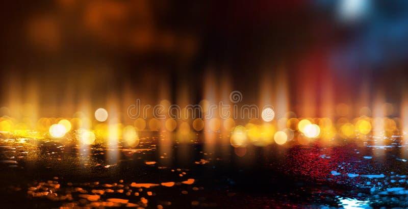 Escena vacía oscura, luz de neón multicolora del reflector, luz abstracta del bokeh, asfalto mojado ilustración del vector