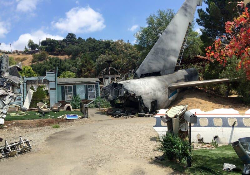 Escenario de película del desastre del accidente de avión fotografía de archivo libre de regalías