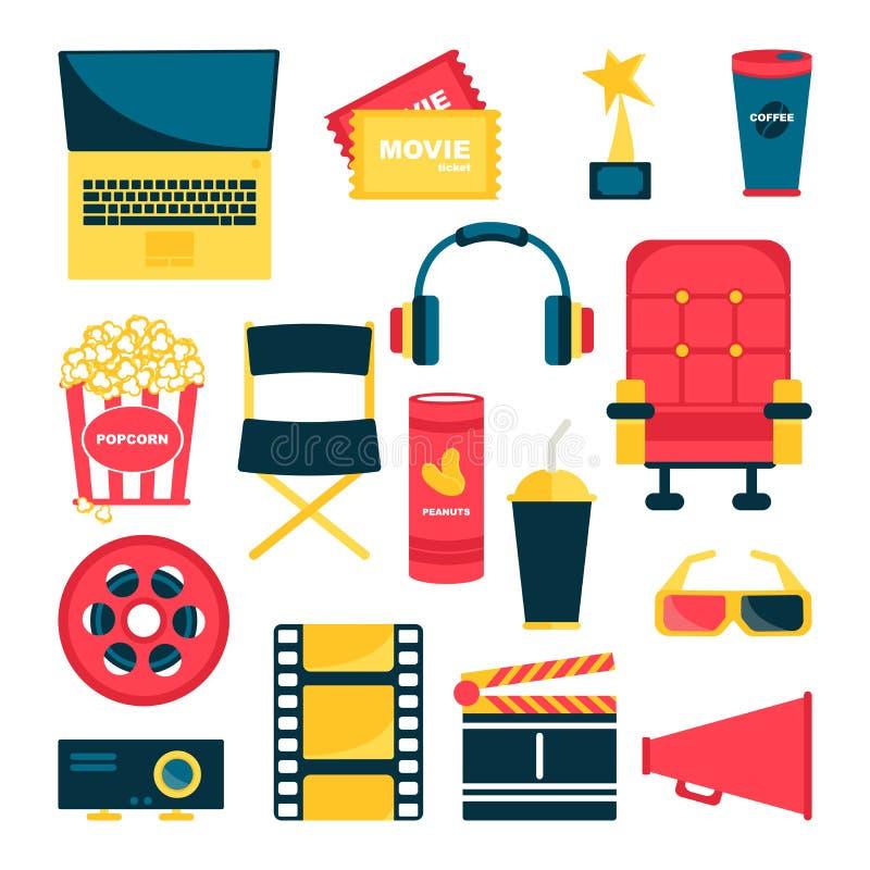 Escenario de película, tal como butaca, palomitas, boletos, carrete libre illustration