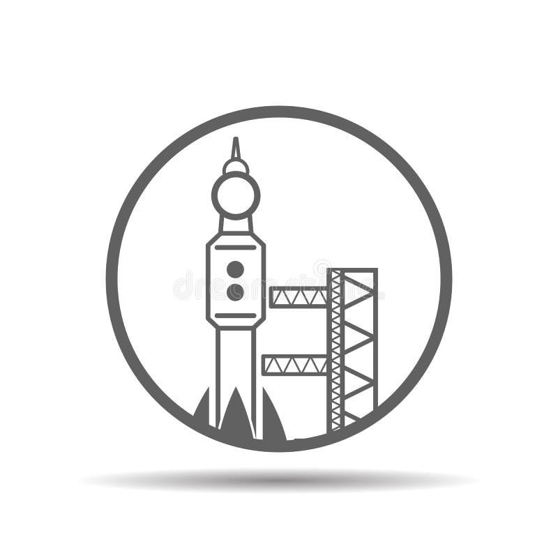 Escenario del lanzamiento negro con el cohete, icono del spaceport, vector stock de ilustración