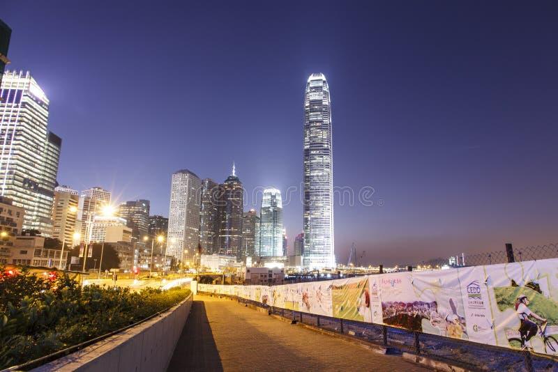Escenas centrales de la noche detrás del complejo de LegCo foto de archivo
