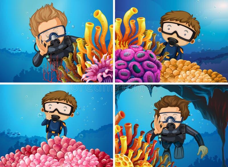 Escenas con los buceadores en el mar stock de ilustración