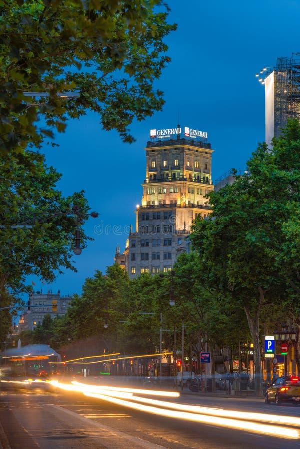 Escenas de la noche de Barcelona fotografía de archivo libre de regalías
