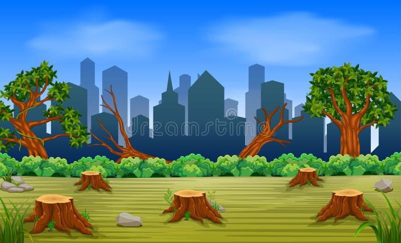 Escenas de la tala de árboles y del edificio ilustración del vector