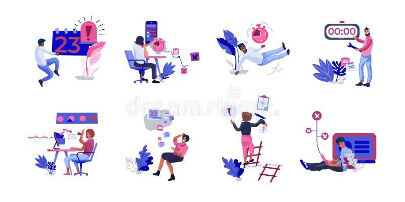 Escenas del trabajo de organización de la gente Personas que fallan y que caen en el trabajo, la oficina ineficaz y los hombres d ilustración del vector