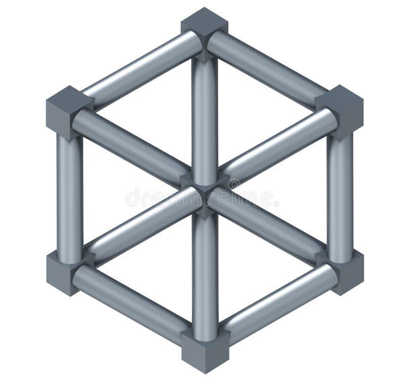 Escher Cube aislada en un fondo blanco ilustración del vector