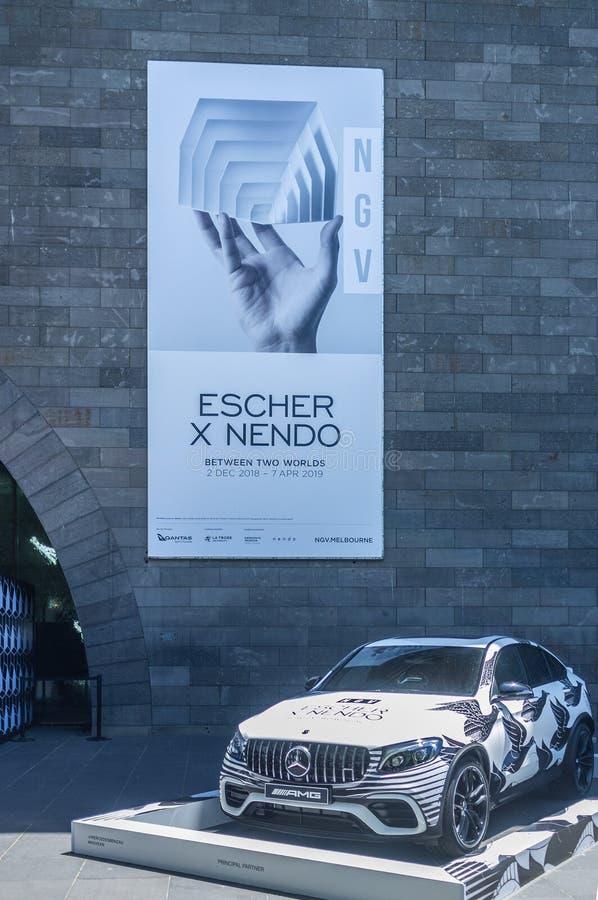 Escher x Nendo exibition billboard. MELBOURNE - DEC 1 2018: National Gallery of Victoria - Escher x Nendo exibition billboard royalty free stock photos
