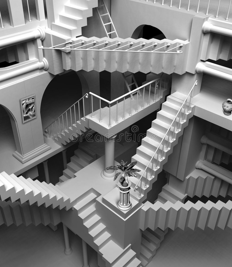 Escher stairs royalty free illustration