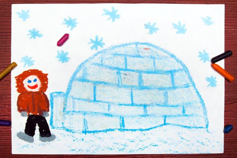 Eschimese con il suo iglù royalty illustrazione gratis