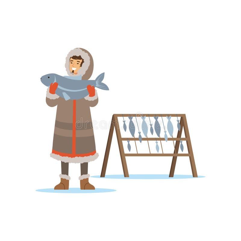 Eschimese, inuit, carattere dell'uomo di Chukchi in costume tradizionale che tiene grande pesce, gente nordica, vita nell'estremo illustrazione di stock