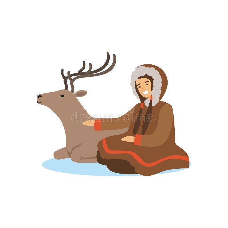 Eschimese, inuit, donna in costume tradizionale che si siede con i suoi cervi, gente nordica, vita di Chukchi nel vettore del nor illustrazione di stock