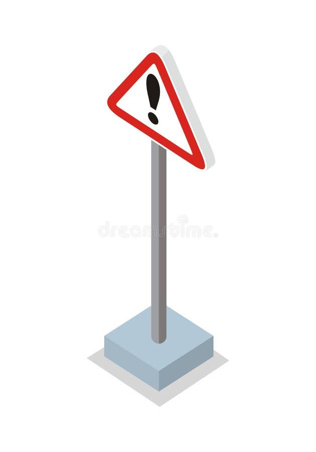 Esclamazione Mark Road Sign Vector Illustration illustrazione di stock