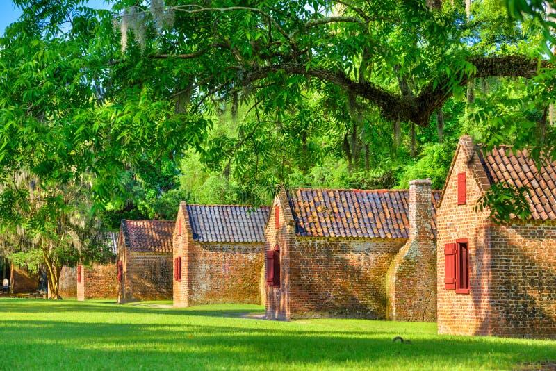 Esclave du sud Quarters de plantation photographie stock