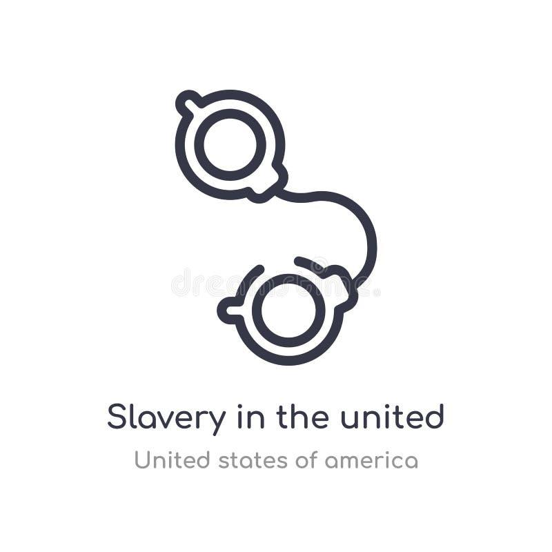 esclavitud en el icono del esquema de Estados Unidos l?nea aislada ejemplo del vector de la colecci?n de los Estados Unidos de Am libre illustration