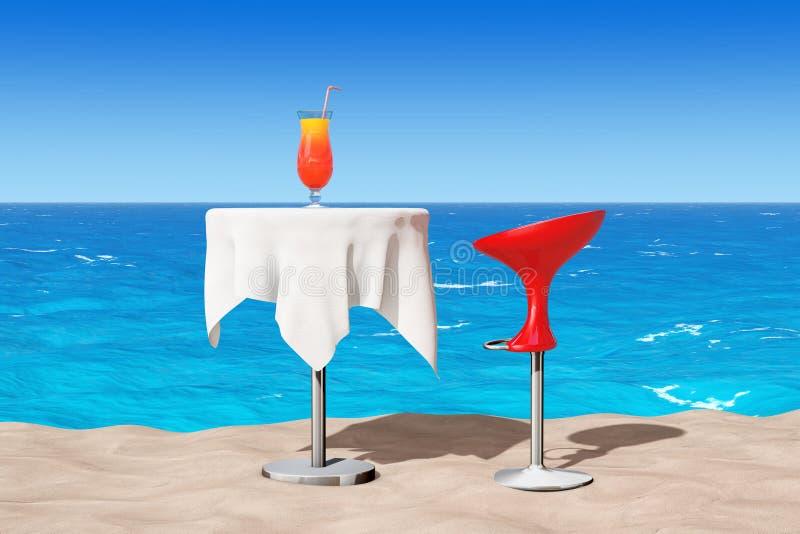 Escluda il panchetto moderno vicino alla Tabella con il cocktail tropicale rosso sulla S royalty illustrazione gratis