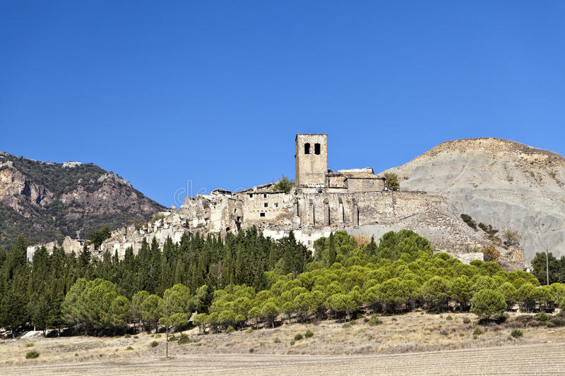 Esco Abandoned Hill Town in Spain royalty free stock images