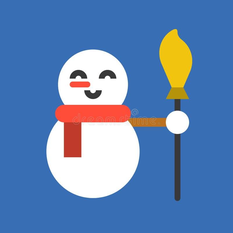 Escoba de la tenencia del muñeco de nieve, sistema llenado del icono de la Feliz Navidad stock de ilustración