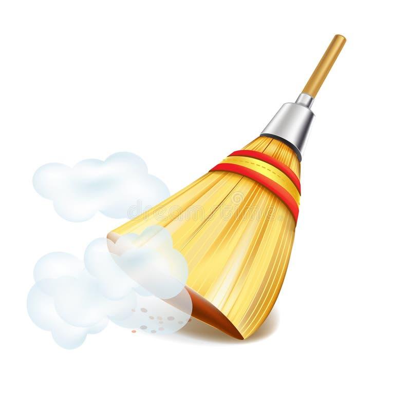 Escoba en nubes de polvo en blanco ilustración del vector