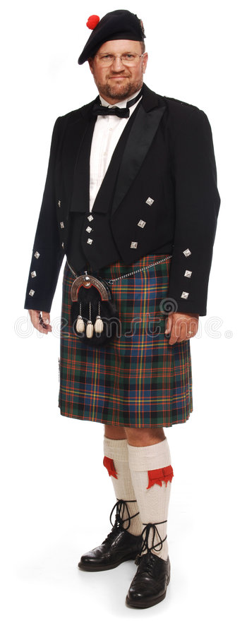 Escocês no kilt no branco foto de stock royalty free