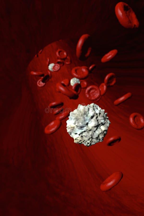 Escoja al glóbulo blanco aislado delante de los glóbulos rojos que atraviesan una arteria stock de ilustración