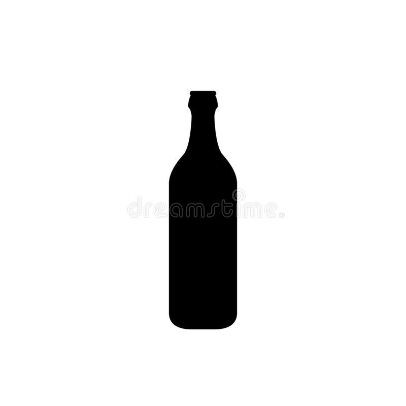 Escoja el icono de la botella de cerveza plana aislado en un fondo blanco libre illustration