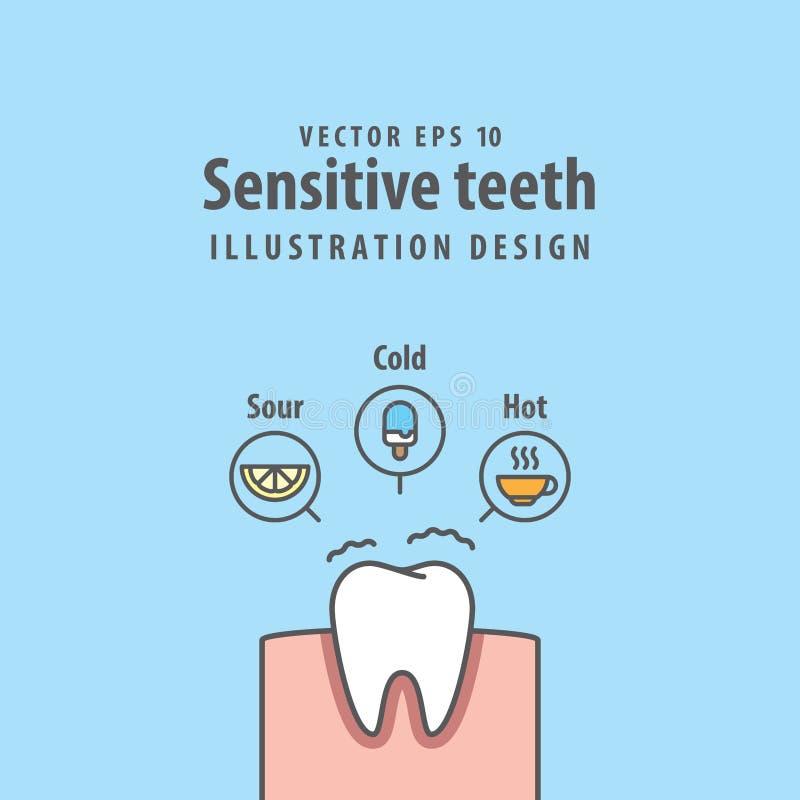 Escoja el vector sensible del ejemplo de los dientes en fondo azul d libre illustration