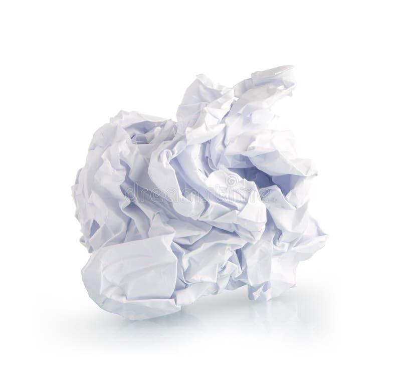 escoja la página del documento arrugado sobre blanco fotografía de archivo libre de regalías