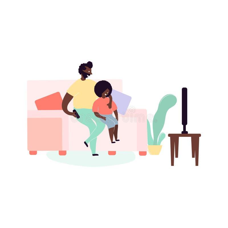 Escoja a los afroamericanos negros del padre y del hijo que se sientan en el sofá que ve la TV stock de ilustración