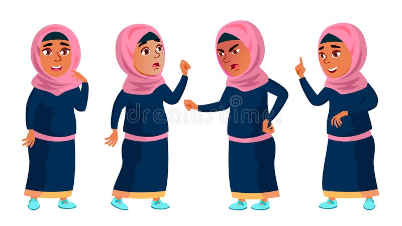 A escola árabe, muçulmana da menina, criança da menina levanta vetor ajustado Criança teenage Roupa tradicional Para a Web, folhe ilustração do vetor