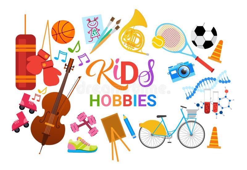 Escola artística de Art Classes Logo Workshop Creative dos passatempos das crianças para a bandeira do desenvolvimento de criança ilustração royalty free