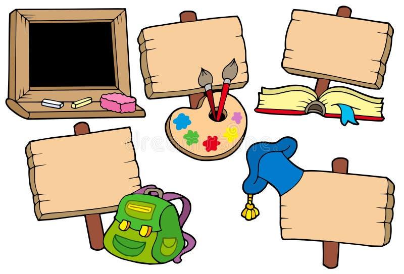 A escola assina a coleção ilustração stock