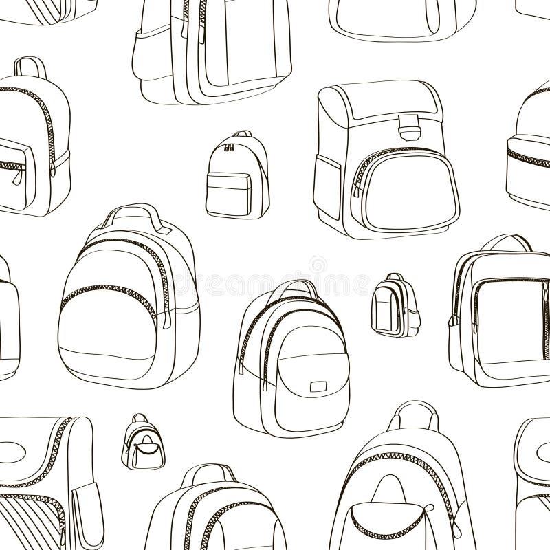 A escola colorida do adolescente backpacks o teste padrão ilustração royalty free