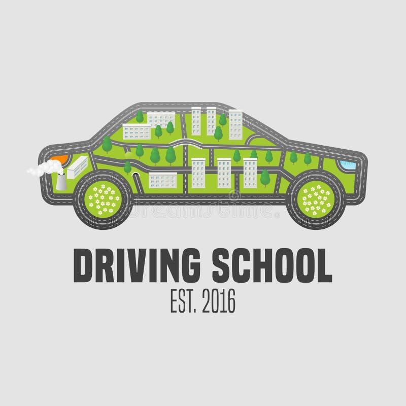 A escola da carteira de motorista vector o logotipo, sinal, emblema ilustração royalty free