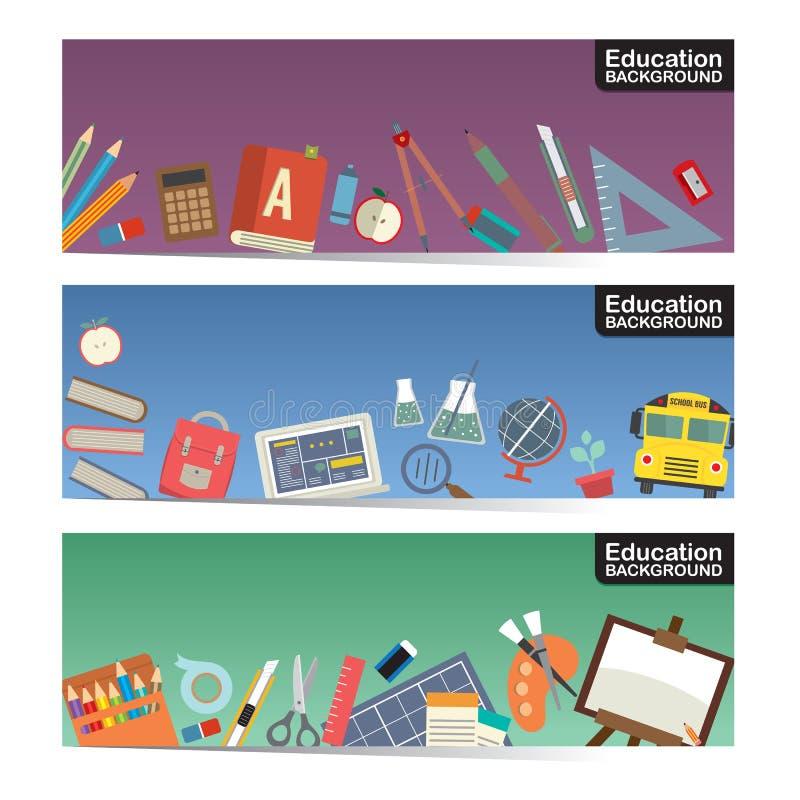 A escola da educação fornece o grupo horizontal da bandeira do material três lisos do ícone ilustração stock