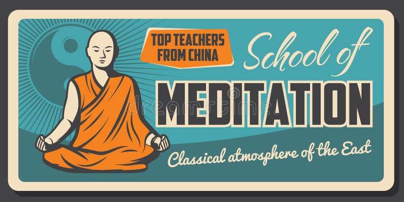 Escola da monge de Zen Dharma da meditação do budismo ilustração stock