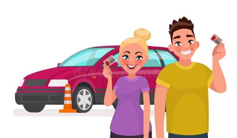Escola de condução Estudantes com uma carteira de motorista e um carro de treinamento Ilustração do vetor ilustração stock