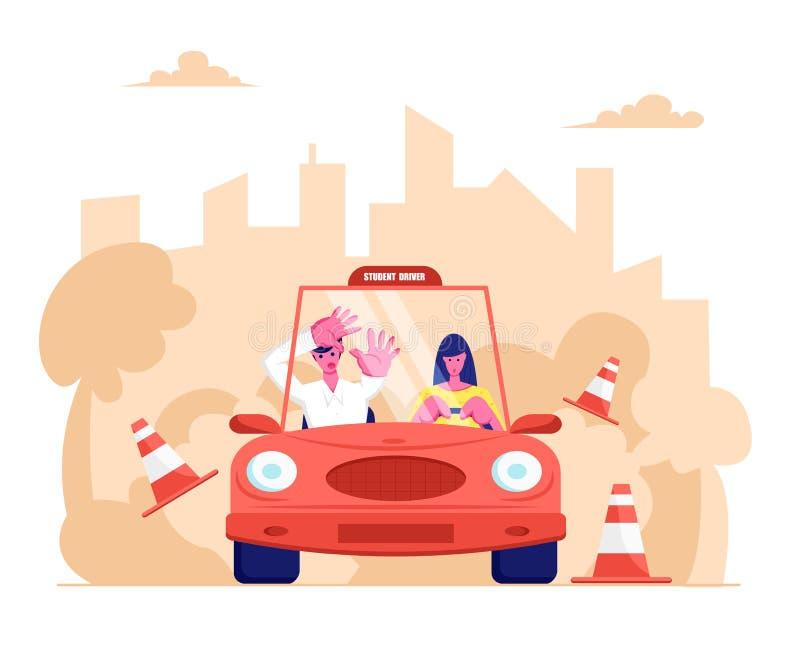 Escola de condução, principiantes que conduz o carro com instrutor amedrontado Sinais de estrada de colisão do automóvel de Girl  ilustração stock