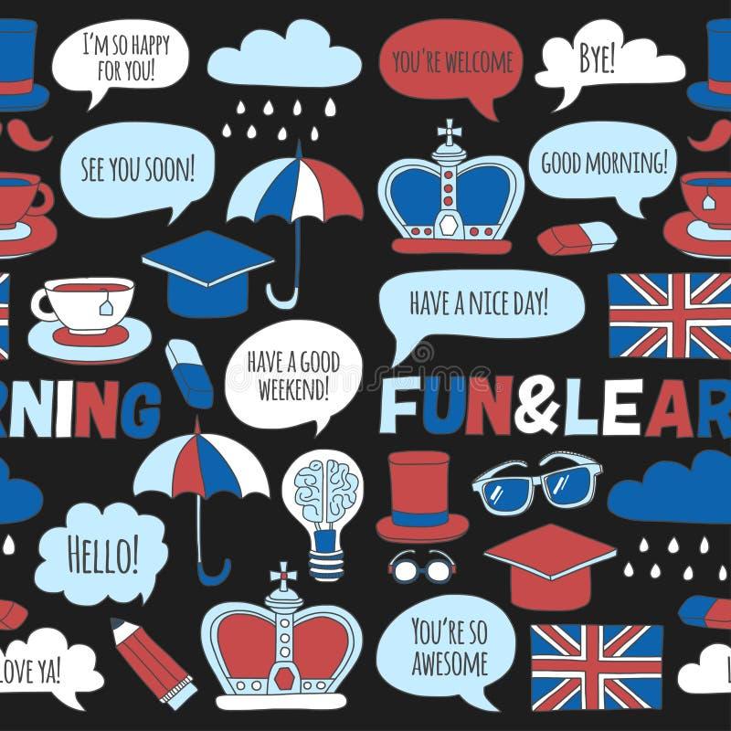 Escola de língua ajustada dos cursos do inglês dos testes padrões e dos ícones da garatuja do vetor ilustração stock